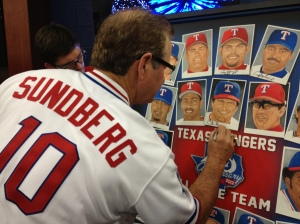 Jim Sundberg signs the All-Time Team poster